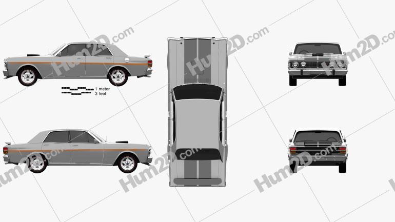 Ford Falcon GT-HO 1971 car clipart