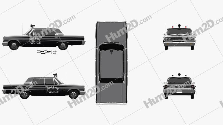 Ford Galaxie 500 Hardtop Dallas Police 4-door 1963 car clipart