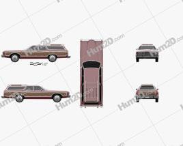 Ford Galaxie station wagon 1973 car clipart