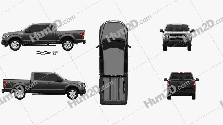 Ford F-150 Super Crew Cab 65ft Bed XLT 2018 car clipart