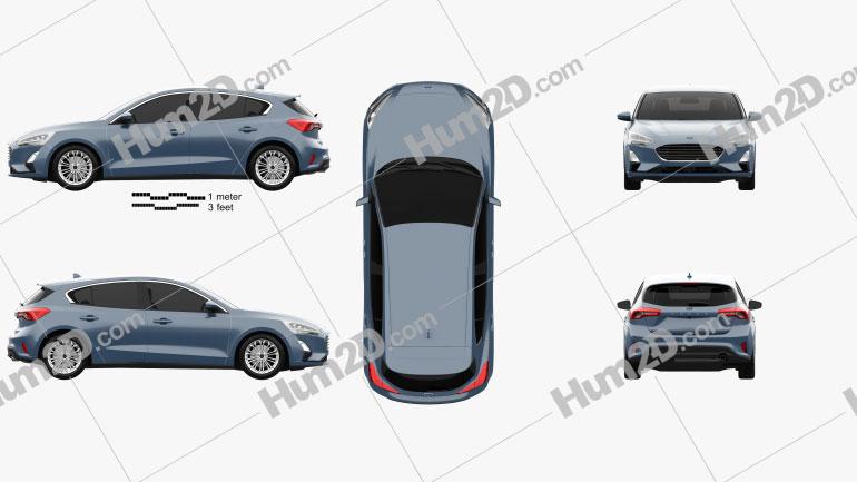 Ford Focus Titanium hatchback 2018 car clipart