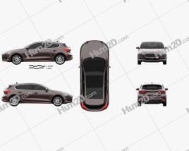 Ford Focus Vignale hatchback 2018 car clipart