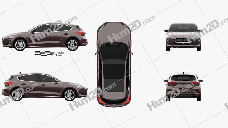 Ford Focus Vignale hatchback 2018 Clipart Image