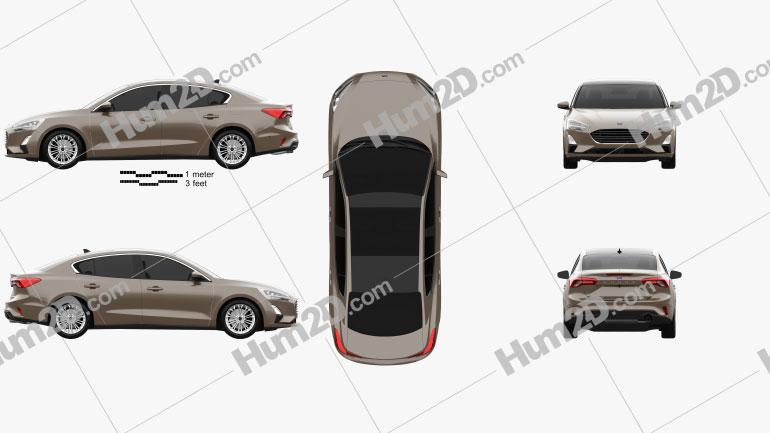 Ford Focus Titanium CN-spec sedan 2018 car clipart