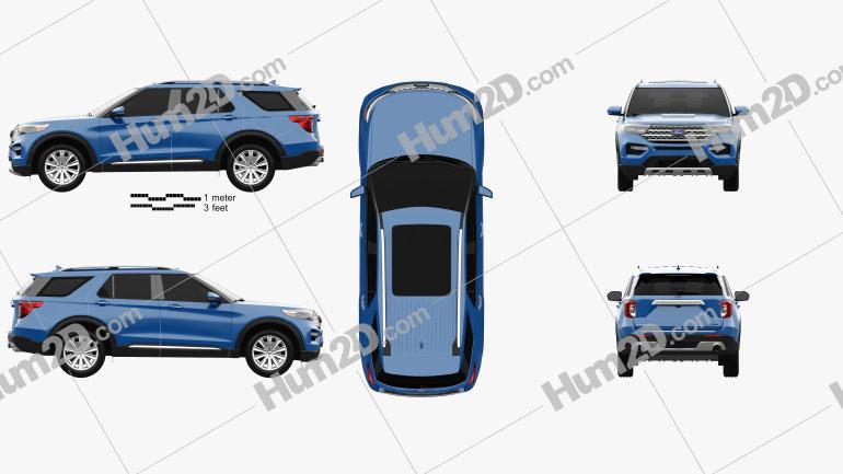 Ford Explorer Limited Hybrid 2020 Clipart Image