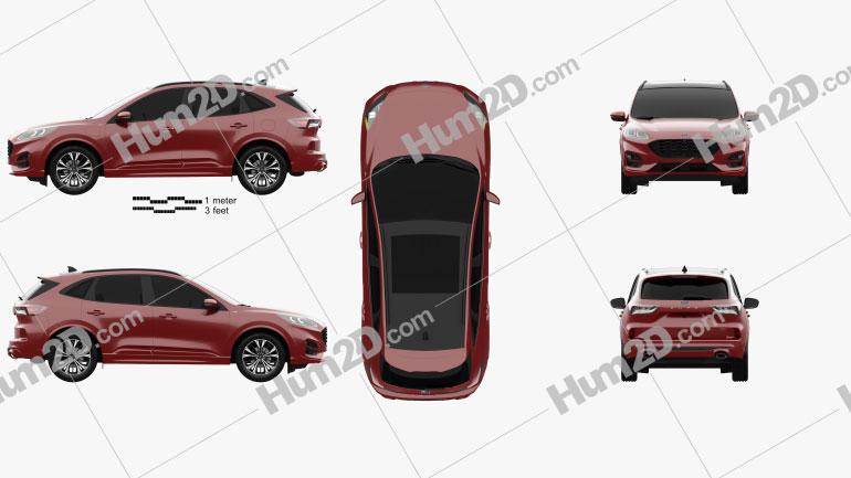 Ford Kuga Hybrid ST-Line 2020 Clipart Bild