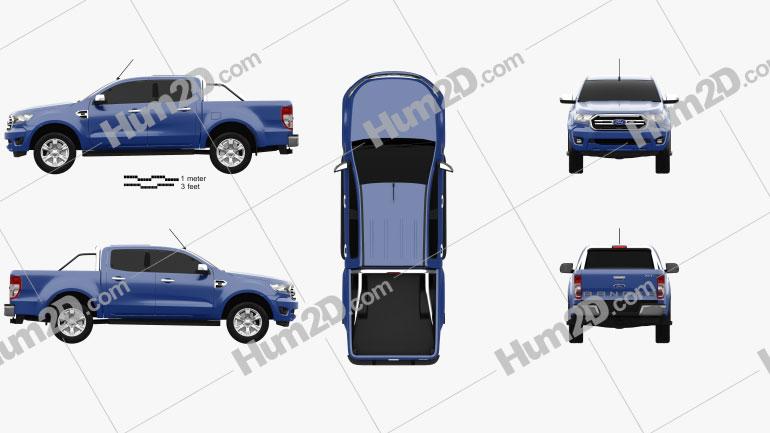 Ford Ranger Cabina dupla XLT 2018 Imagem Clipart