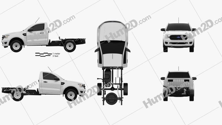 Ford Ranger Einzelkabine Chassis XL 2018 car clipart