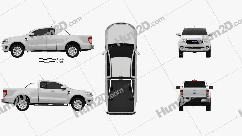 Ford Ranger Super Cab XLT 2018 car clipart