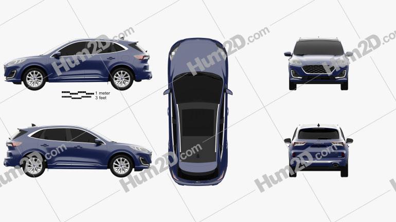 Ford Kuga Hybrid Vignale 2020 Clipart Image