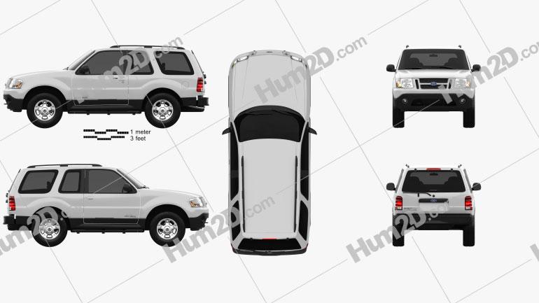 Ford Explorer Sport XLT 2001 Clipart Image