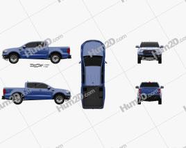 Ford Ranger Super Crew Cab FX4 Lariat US-spec 2018 car clipart