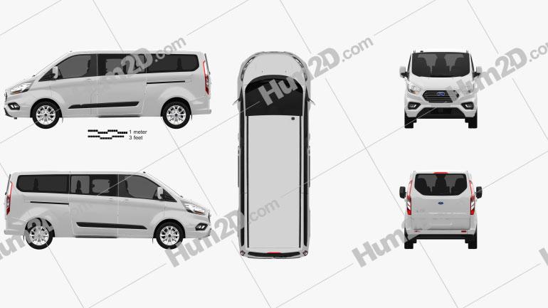 Ford Tourneo Custom L2 2017 Clipart Image