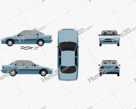 Ford Escort sedan 1995 car clipart