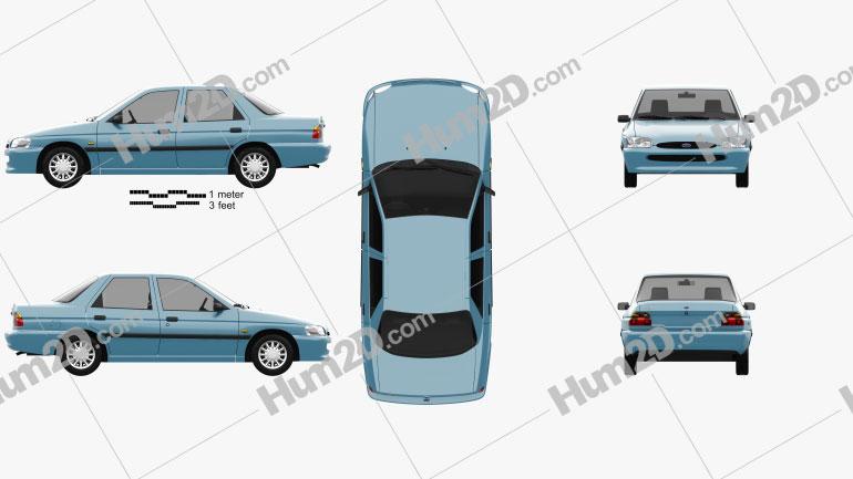 Ford Escort sedan 1995 Clipart Image