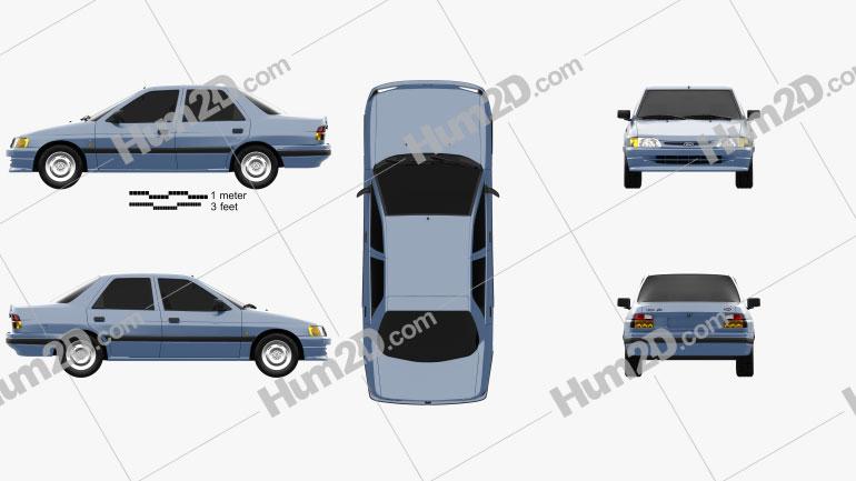 Ford Escort Ghia 5-door hatchback 1990 car clipart