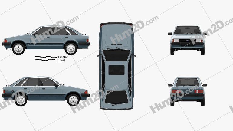 Ford Escort hatchback 1980 car clipart