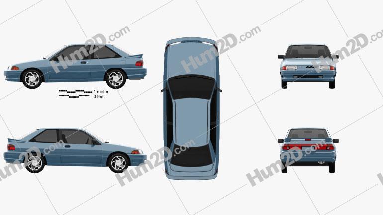 Ford Escort GT hatchback 1992 car clipart
