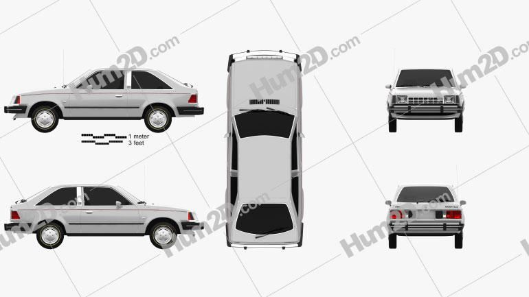 Ford Escort GLX 3-door hatchback 1981 car clipart