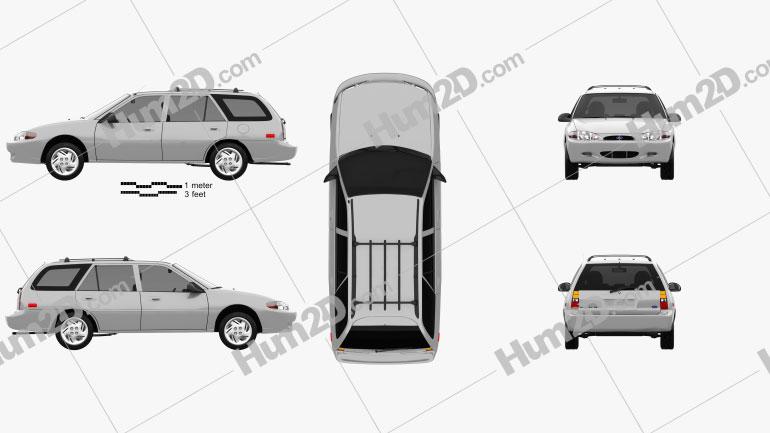 Ford Escort wagon 1997 Clipart Image