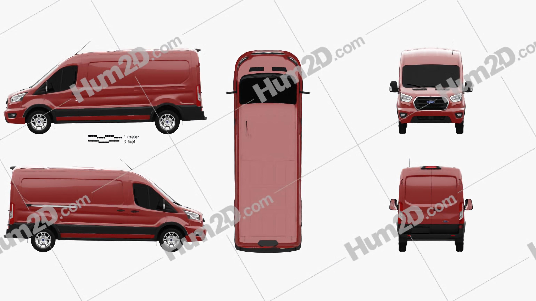 Ford Transit Panel Van L2H2 2018 clipart