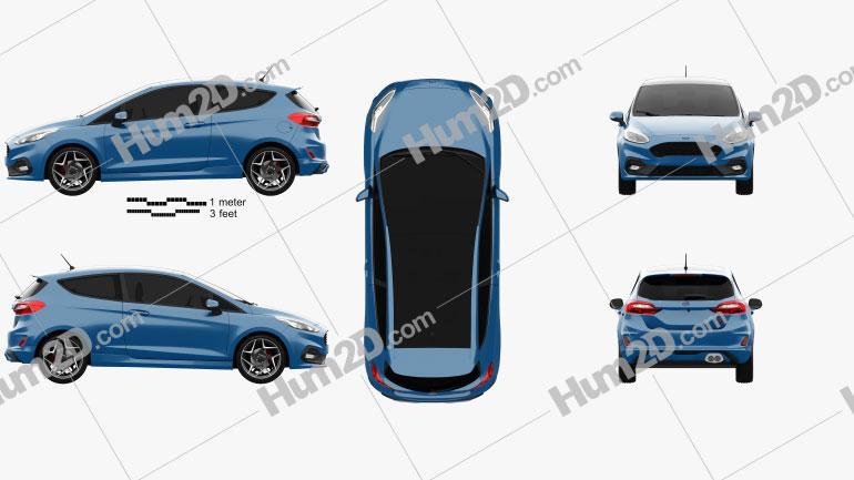 Ford Fiesta 3-door ST 2019 car clipart