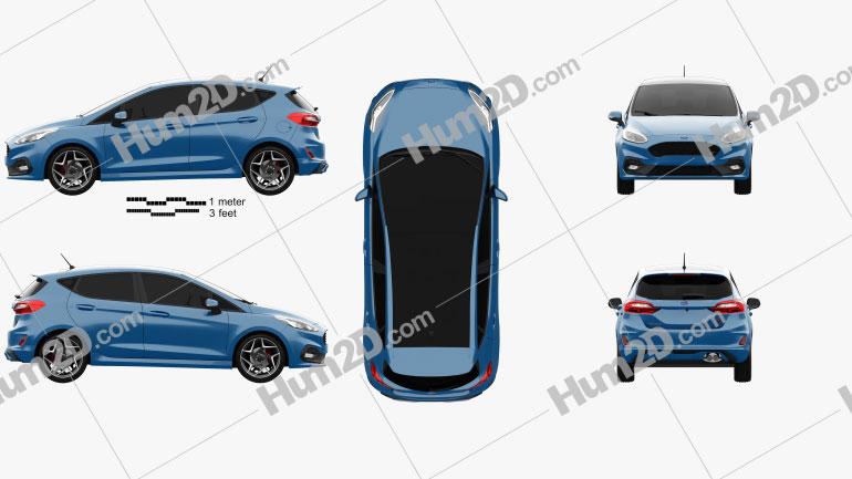 Ford Fiesta 5-door ST 2019 Clipart Image