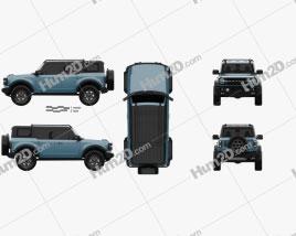 Ford Bronco Badlands Preproduction 4-door 2020 car clipart