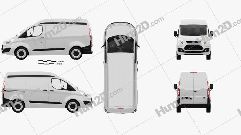 Ford Transit Custom Panel Van L1H2 with HQ interior 2012 clipart
