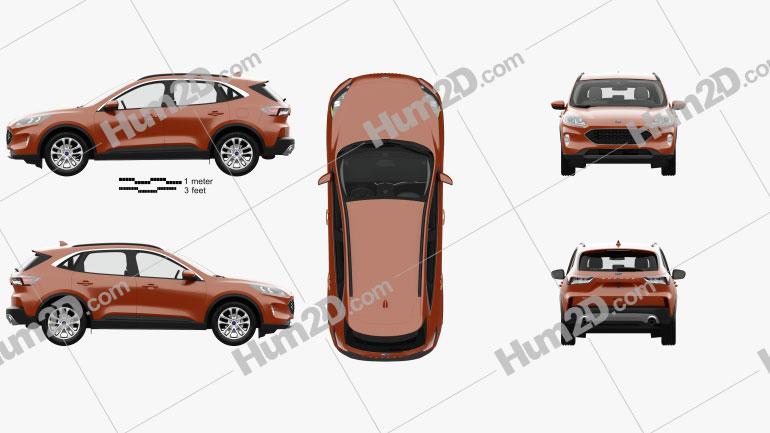 Ford Escape SE with HQ interior 2020 car clipart