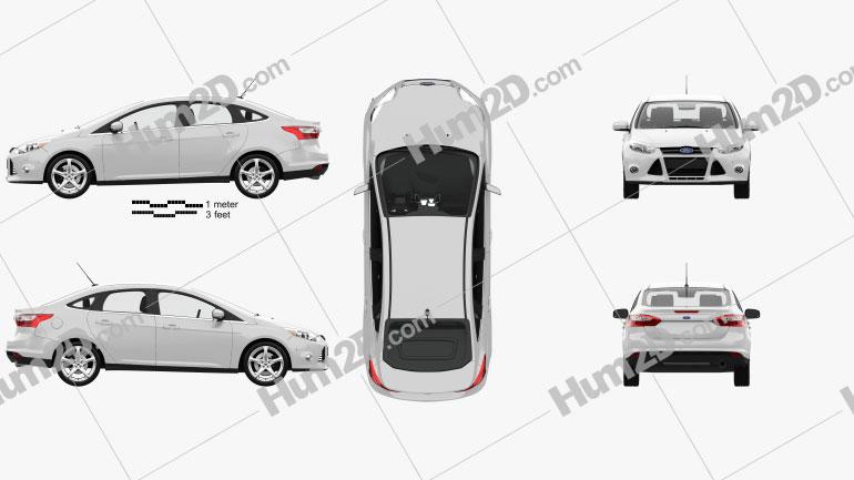 Ford Focus sedan with HQ interior 2011 Clipart Image