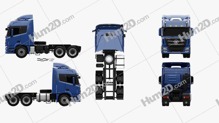 Foton Auman TL Tractor Truck 2012 Clipart Image