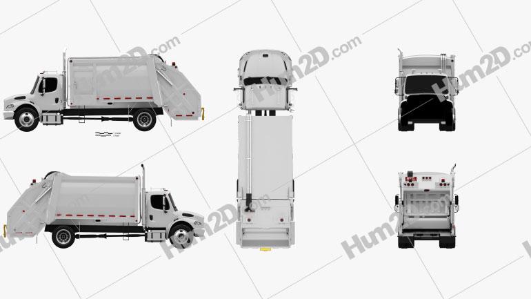 Freightliner M2 Heil PT 1000 Garbage Truck 2012 Clipart Image