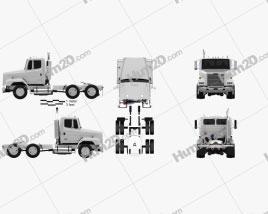 Freightliner FLC112 Tractor Truck 3-axle 1987 clipart