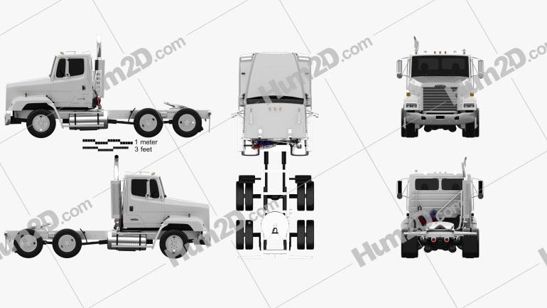 Freightliner FLC112 Tractor Truck 3-axle 1987 Clipart Image