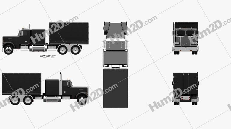 Freightliner FLC120 Box Truck 1989 clipart