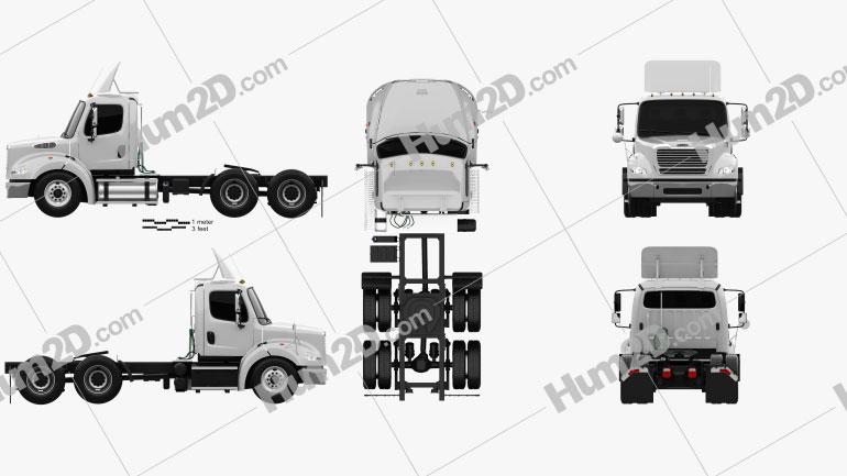 Freightliner M2 112 Cabina curta Caminhão trator 3-eixos 2011 Imagem Clipart