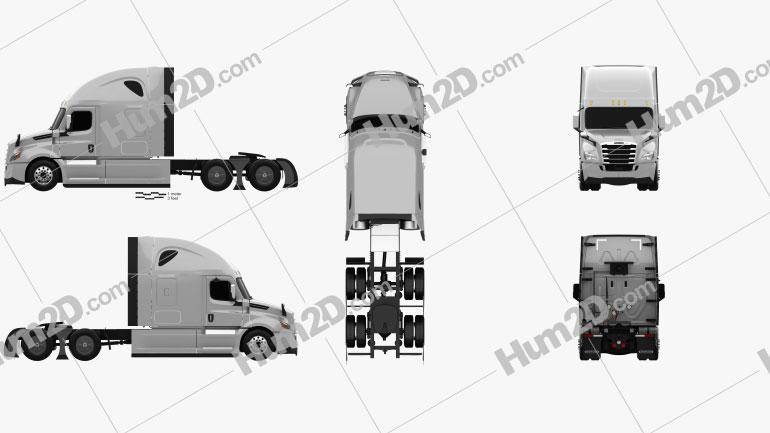 Freightliner Cascadia 126BBC 72 Sleeper Cab Raised Roof AeroX Tractor Truck 2018 clipart