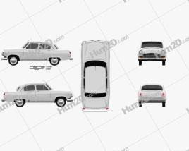 GAZ 21 Volga 1962 car clipart