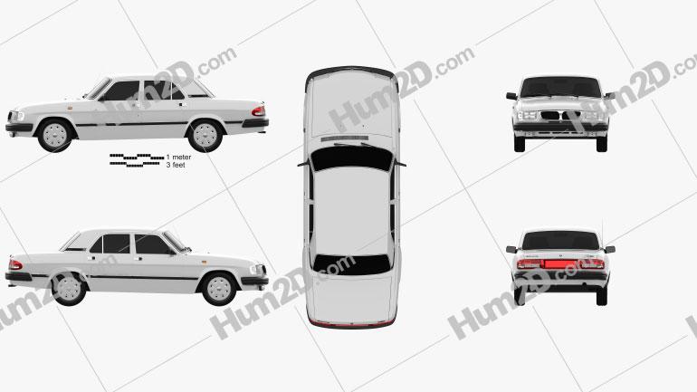 GAZ 3110 Volga 2004 Clipart Image
