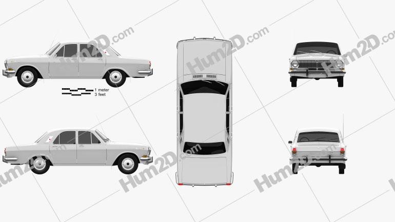 GAZ 24 Volga 1967 Clipart Image