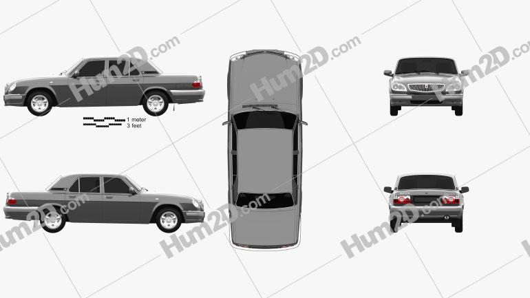 GAZ 31105 Volga 2005 Clipart Image