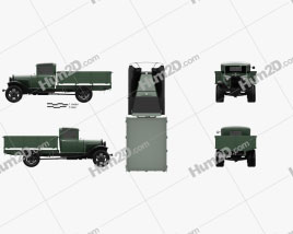 GAZ-AA Flatbed Truck 1932 Clipart