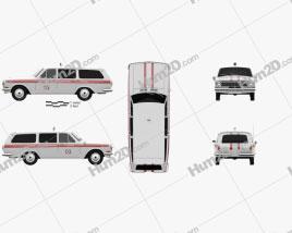 GAZ 24 Volga Ambulance 1967 Clipart
