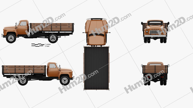 GAZ 53 Flatbed Truck 1965 clipart