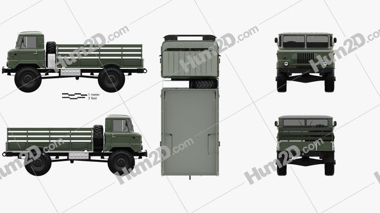 GAZ 66 Flatbed Truck 1964 clipart