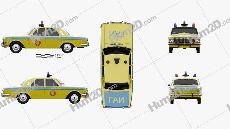 GAZ 24 Volga Militia 1967 car clipart