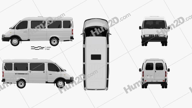 GAZ 3221 Gazelle Passenger Van 1996 clipart