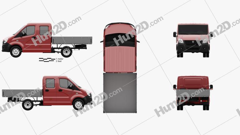 GAZ Gazelle Next Double Cab Flatbed Truck 2013 clipart