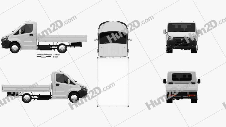 GAZ Gazelle Next Single Cab Flatbed 2020 clipart